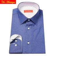 Male Long Sleeve Business Formal Dress Royal Blue Cotton Shirts Men S Big Size Casual Shirt