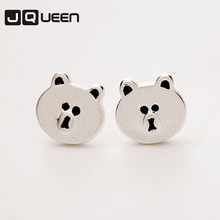 New Silver Color Cute Panda Earrings Lovely Animal Cartoon Bear For Women Fashion
