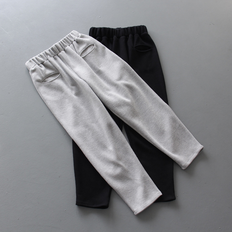 High Quality Spring/Autumn Womens Black/Gray Pants Cotton Casual Sweatpants Female Personality Hip Hop Street Wear Trousers S-XL