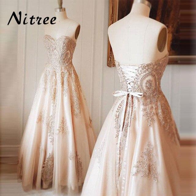 Elegant Champagne Lace Evening Dresses For weddings Turkish Arabic Moroccan  Kaftan Dubai Formal Prom Dress Gowns 2018 New Cheap 21caac8da25c