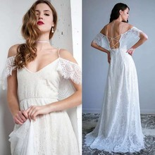 2019 High Quality Lace Boho Beach Wedding Dress Sexy V Neck Backless Cap Sleeve Bridal Gowns Spaghetti Straps Vestido De Noiva
