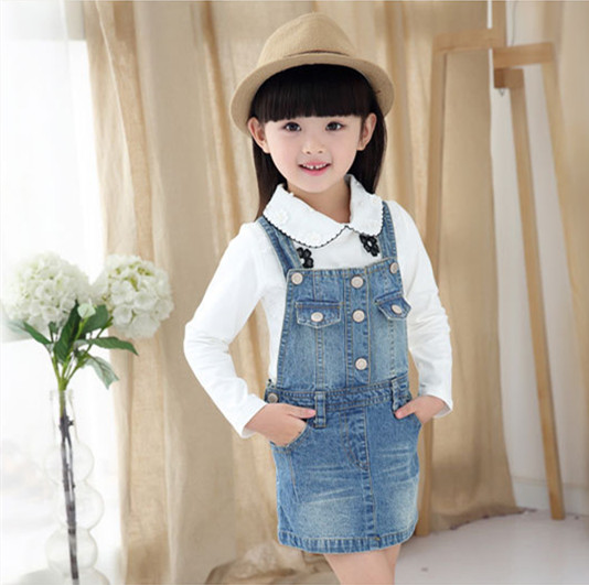 NEW 2016 Spring autumn  Fashion Girl  denim strap dress child casual washing Denim dresses For 2-7 years baby girls clothes