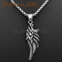 SUNNERLEES nowa moda biżuteria ze stali nierdzewnej wisiorek naszyjnik Link łańcuch Punk skrzydła anioła dla mężczyzna kobiet SP27 tanie tanio NASZYJNIKI łańcuszek Wisiorki FEATHER 16mm x 55mm Zgodna ze wszystkimi STAINLESS STEEL Metal Unisex Steel Tone Optional