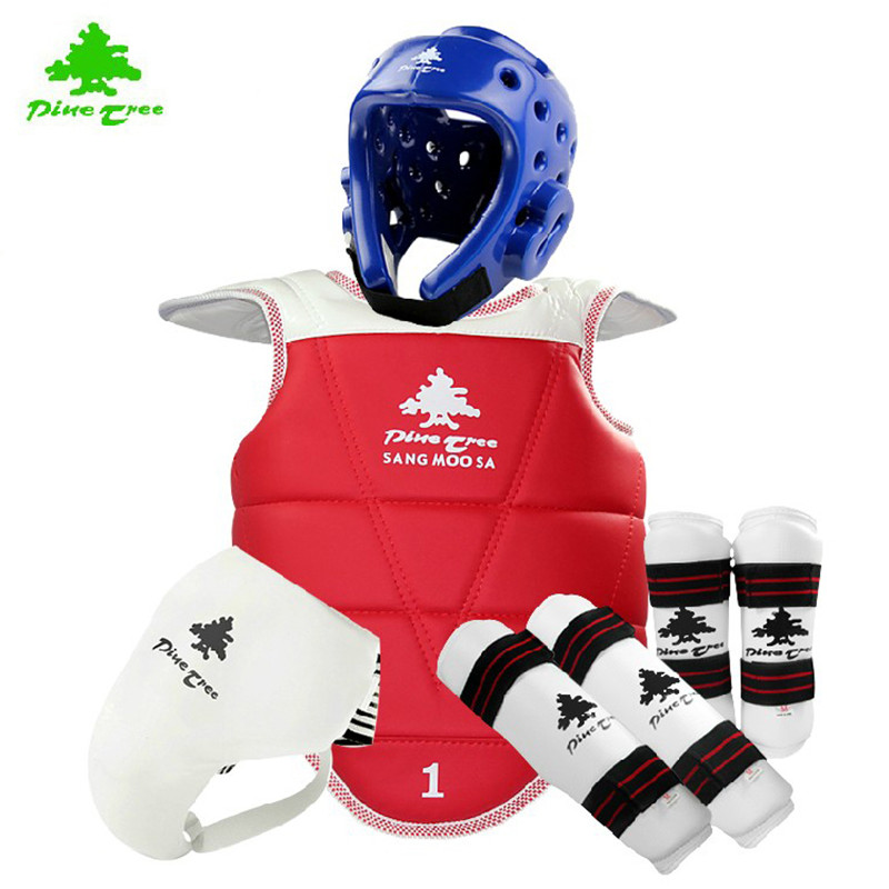 5pcs Pinetree WTF approved Taekwondo protectors suite chest shin arm groin guards Child karate headgear MMA kickBoxing Helmets amazing set pine star 1set 5pcs taekwondo protectors groin guards chest guard arm leg protector proforce shin headgear helmet