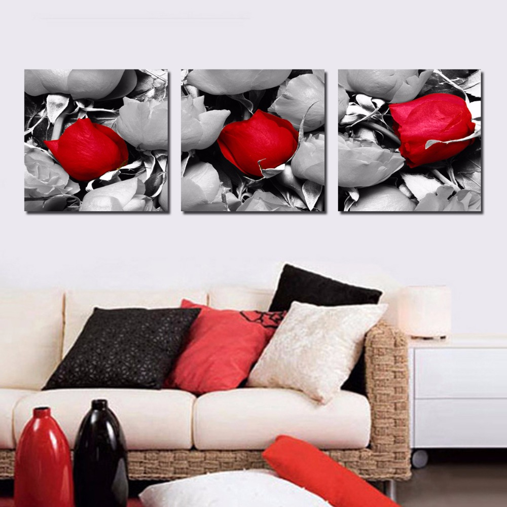Modern Rose petal paintings 3 piece large canvas print wall art modular painting on decoration decorative pictures art-003