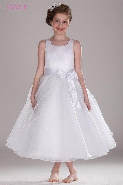 White 2018 Flower Girl Dresses For Weddings A Line Ankle Length