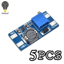 WAVGAT 5PCS MT3608 DC DC 스텝 업 컨버터 부스터 전원 공급 장치 모듈 부스트 스텝 업 보드 최대 출력 28V 2A Arduino 용