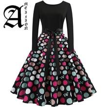 New Women Long Sleeve Midi Dress Casual Slim Plus Size Floral Print Autumn Dresses Dot Vintage Rockabilly Pin up Vestidos vintage color block long sleeve pin up dress