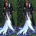 Encanto De Manga Larga de Encaje Negro hasta el Suelo Escarpado Sirena Africano Blanco Vestido de Fiesta 2017 Del O-cuello Verdadero de La Muestra Vestidos de Baile