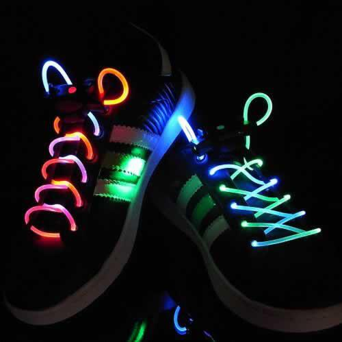 1pair LED shoe laces light flashing luminous shoelaces flat laces fashion glowing led shoelaces