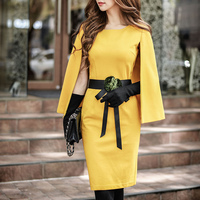 original sexy dress 2016 new autumn winter OL ladies temperament slim hip cape poncho party dresses wholesale