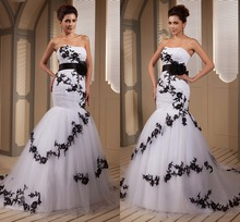 Real Picture Designer Black And White Mermaid Wedding Dresses Bridal Gowns Sweetheart Appliques Tulle Corset vestido de noiva