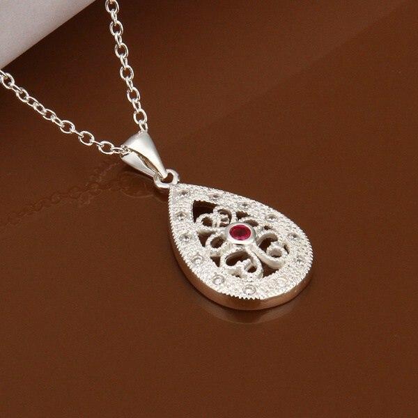 9b5dda9132ee Venta al por mayor fina plata plateada collar de moda joyería cadena  rhinestone collares y colgantes mujeres collar SN459