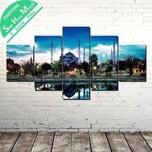 купить!  5 Шт. Символ Стамбула Голубая Мечеть Wall Art Холст Плакат и Печать Холст Картины Декоративная  Лучший!
