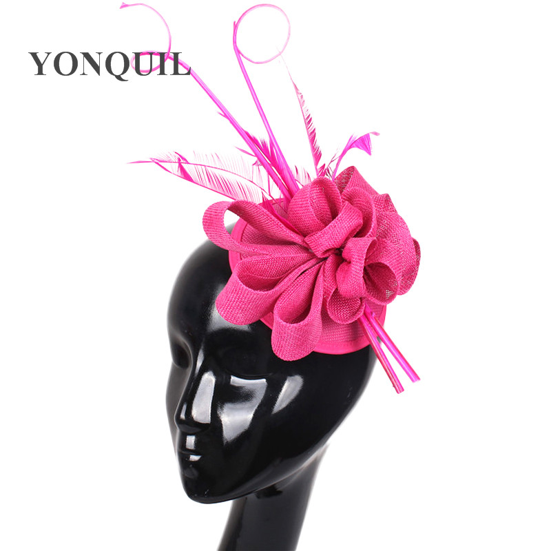 New colors arrival Imitation Sinamay fascinator hat with ostrich quill and feather for Kentucky Derby church wedding party races
