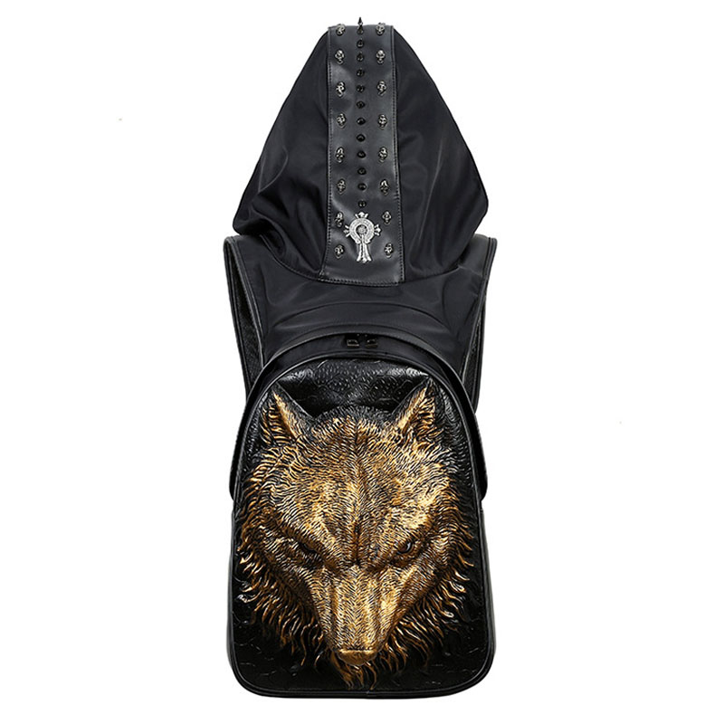 Creative Style PU Backpack With Headgear 3D Ferocious Wolf  Travel Bag Computer Package Gold Halloween Costume Summer Bag 2019