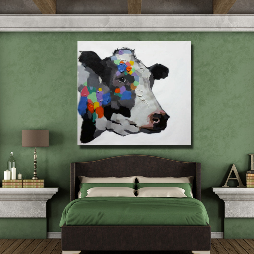 Hand zeichnung bunte kuh messer ölgemälde dekorative tier kopf farbe ...