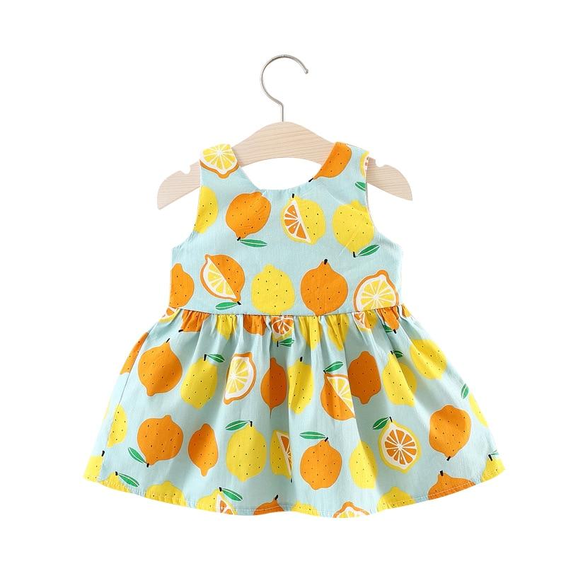 Letnie sukienki dla dziewczynki z cytryny Duże ubranie bez rękawów - Odzież dla niemowląt - Zdjęcie 2