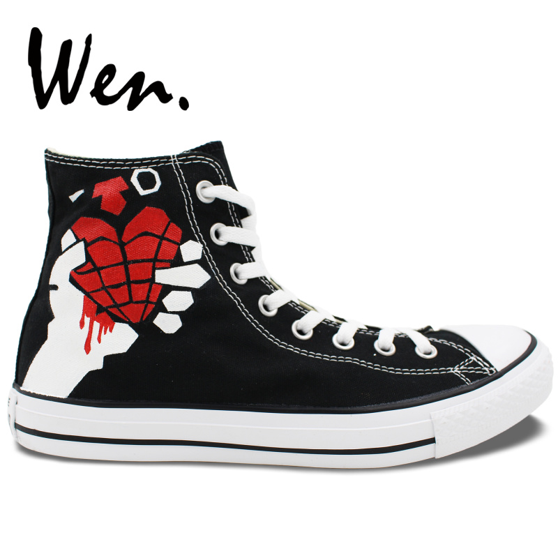 7db739550699 Wen Original Sneakers Design Custom Hand Painted Shoes Green Day American  Idiot Men Women s High Top Black Canvas Sneakers