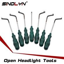 범용 오픈 헤드 라이트 하우징 세관 도구 차가운 접착제 도구 제거 냉담한 접착제 실란트 자동차 전조등 7 PCS