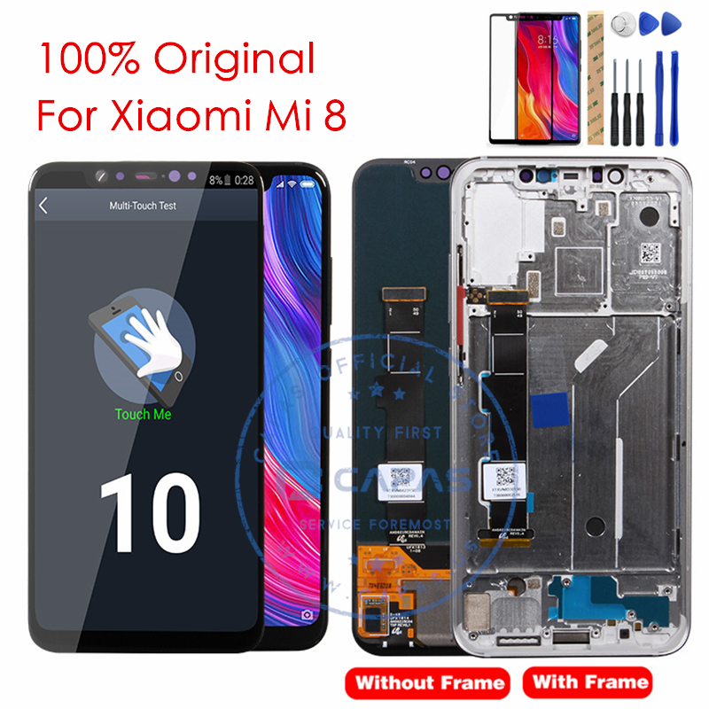 100 Original For Xiaomi Mi 8 LCD Display Frame Touch Screen Panel For Xiaomi Mi8 LCD