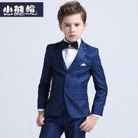 three pieces jacket+pants+bow tie Boy suit set British spring middle school children Birthday dress suit teenage size 110 170