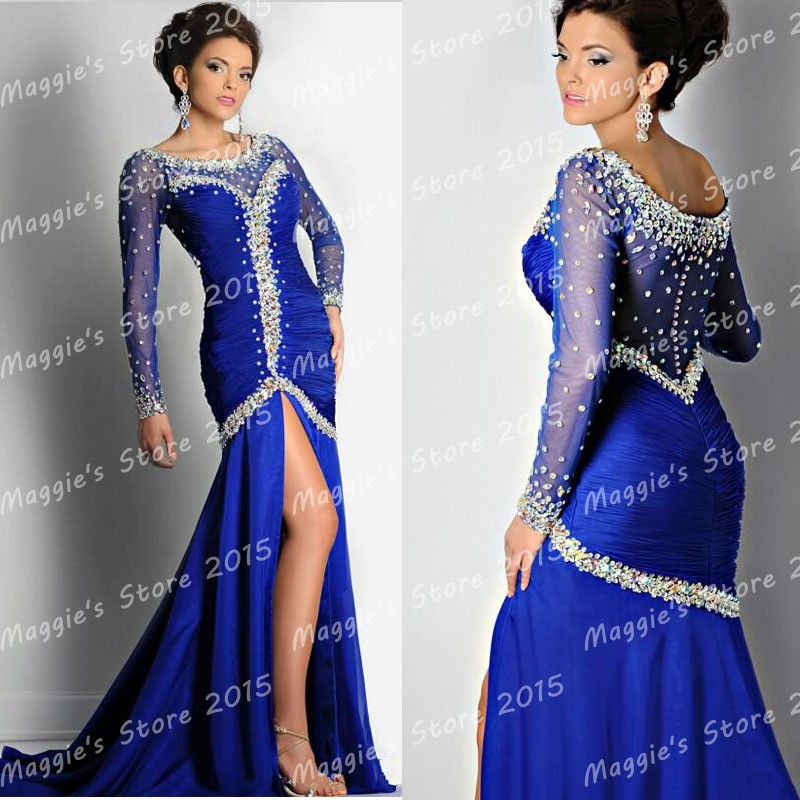 sexy bling luxury evening dress mermaid royal blue/black sheer