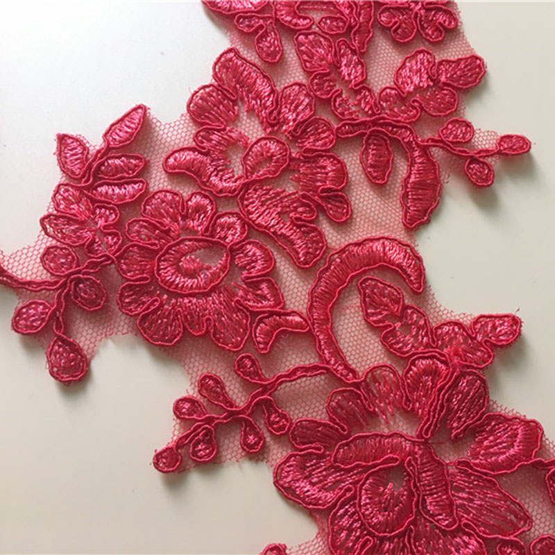 1Pair Red Lace Appliqued Wedding Dress Cording Lace Applique Thread Lace Fabric Embroidery Sewing Accessories Trim in Lace from Home Garden
