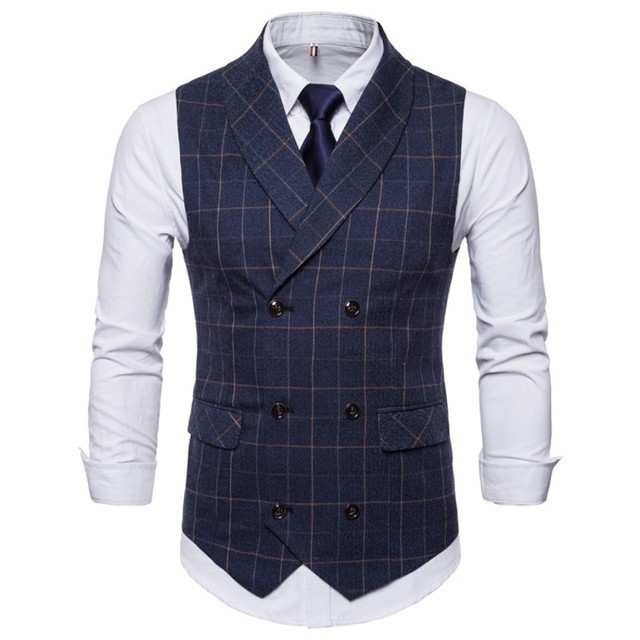 Fomal British Male Blue In Style Vests Business Waistcoat From Vest Wedding Tuxedo Heren Gilet Us33 Suits Casual 32018 For Navy Men Tweed Nm8n0OvwyP
