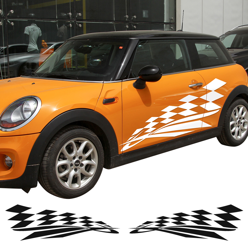 Checker Falg Door Side Decal Stickers for MINI Cooper S R50 R53 Hardtop R56 Convertible R57 Coupe R58 Roadster R59 Side Stripes