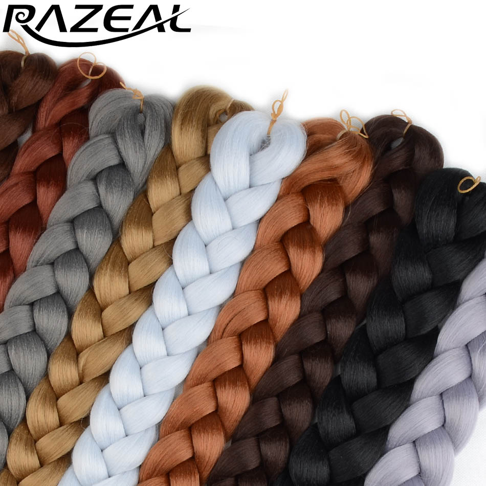 5 packs Ombre Razeal Crochet Braiding Hair jumbo Braids two Tone Kanekalon Synthetic Braiding Hair Extensions