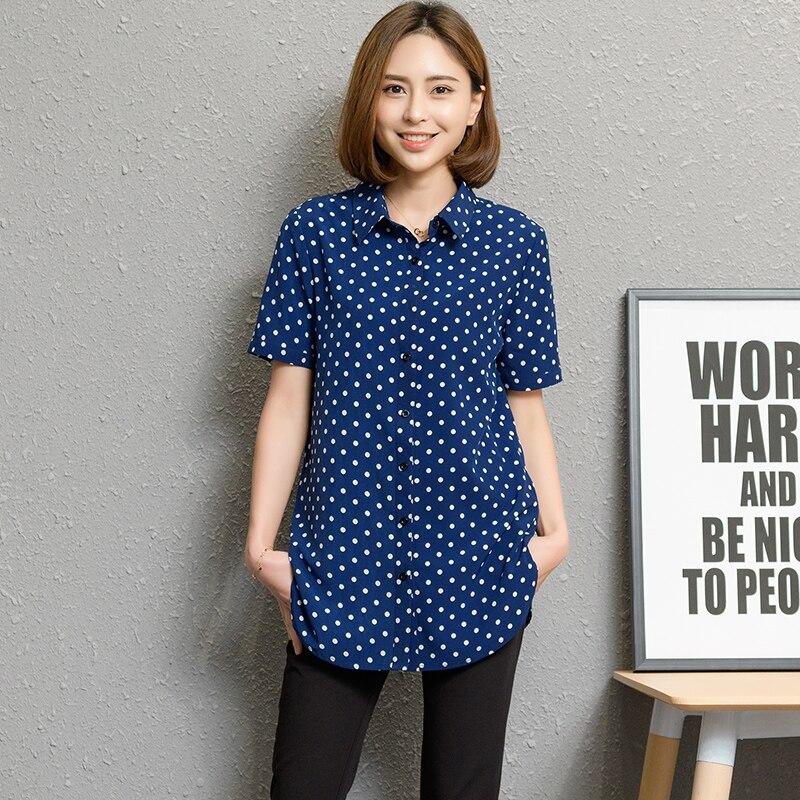 6030231809 De las mujeres de la moda Blusas manga corta de verano de 2019 nueva Plus  tamaño camisas de Oficina de Impresión camisa blusa de las mujeres Tops