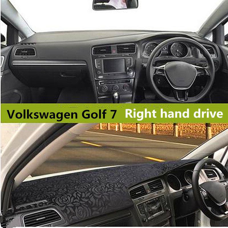 Rose style Car dashboard cover for Volkswagen Right hand drive Auto dashboard Mat Non slip Pad for Volkswagen Golf 7 3colors