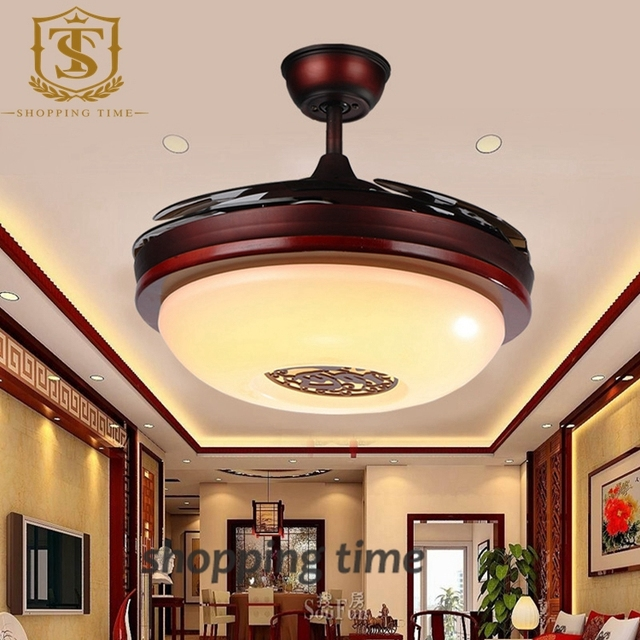 Chinese Style Small 32 Inch Ceiling Fan Light Invisible Blades Lamp 3005a