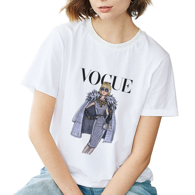 Vogue Tshirt Women T Shirt <font><b>Aesthetic</b></font> Vintage White Top Basic Harajuku Streetwear Festival <font><b>80s</b></font> 90s Fashion T-shirt Summer Elegant image