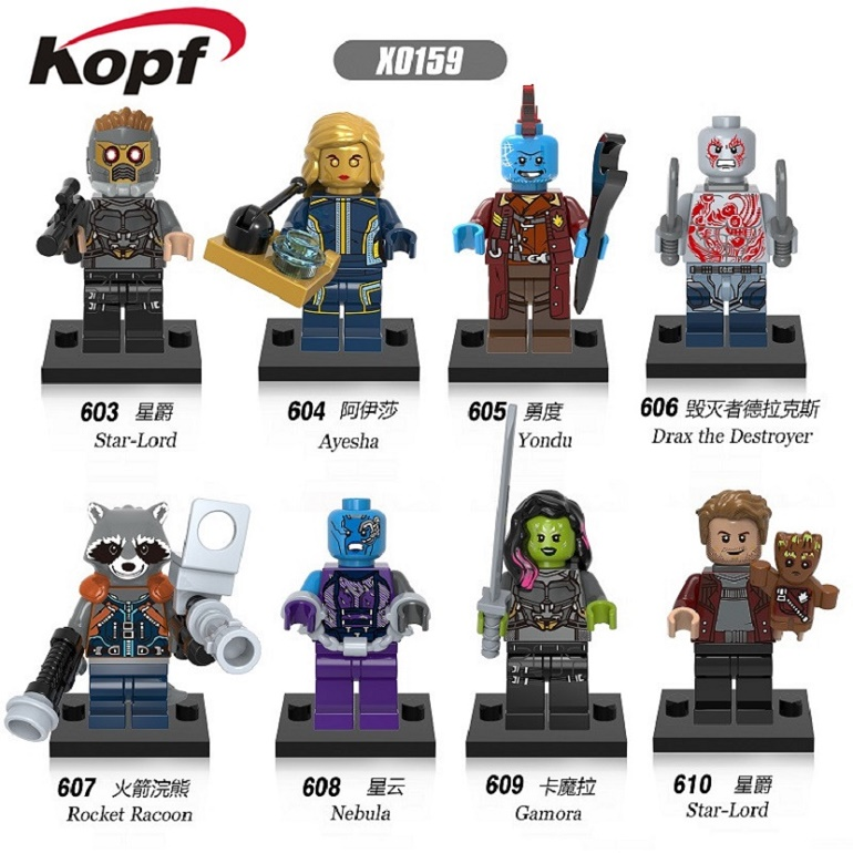 цены  X0159 Building Blocks Guardians of the Galaxy Groot Nebula Rocket Racoon Gamora Star-Loed Super Heroes Bricks Children Gift Toys