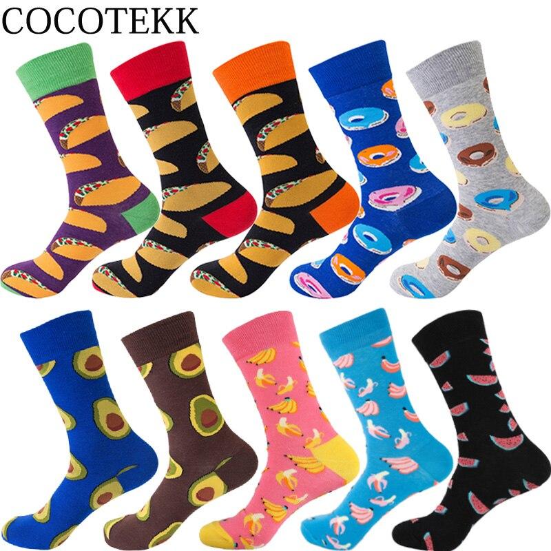 2018 New Fashion Combed Cotton Men Socks Happy Funny Socks Avocado Hamburger Donut Fruit Food Designer Creativity DIY Socks Men