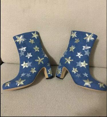 2017 newly arrival woman boots very cute boots thick heel high heels side zipper closure type ankle boots  blue color shoes