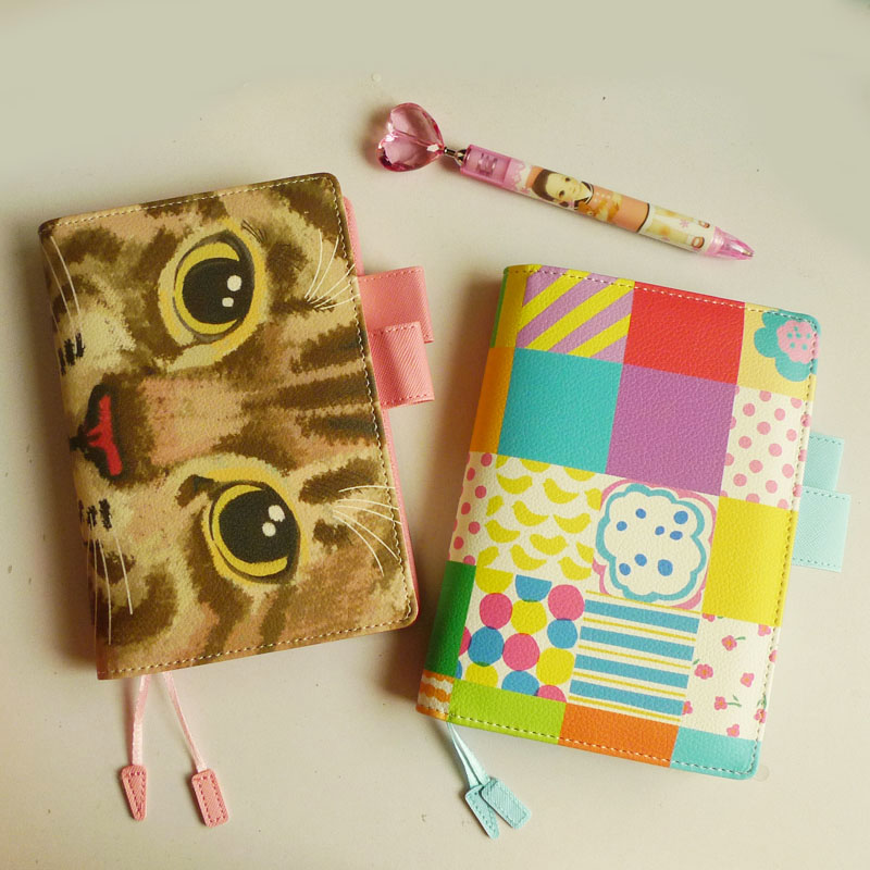 2018 Cute Cat Face Journal Cover A5 A6 Suit For Standard A5/A6 Fitted Paper Book Hobonichi Style Gift Girls Stationery стоимость