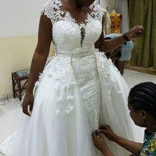 Vestidos De Novia африканские кружевные свадебные платья со съемным шлейфом ручной работы колпачковые втулки шеи Плюс Размер свадебное платье