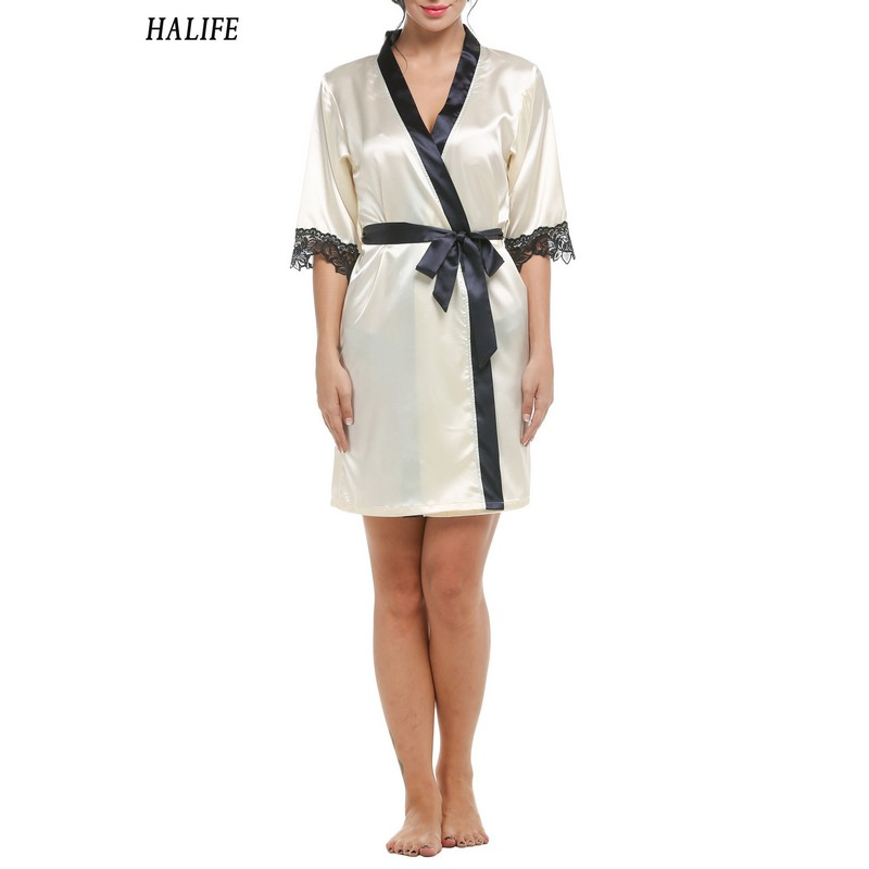 HALIFE Women Kimono Satin Wedding Bride Bridesmaid Robes Lace Splicing Sleepwear Nightgown Bathrobe Night Bath Robe Pajamas 630