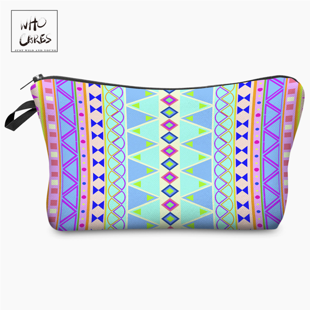 Who Cares New Fashion 3D Printing With Multicolor Pattern Makeup Bags With Zipper Travel Ladies Pouch Women Cosmetic Bag