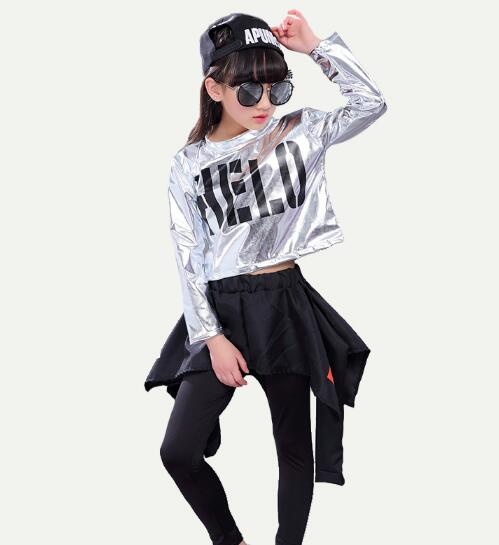 Children Hip Hop Dance Clothes For Girls  Autumn Long Sleeve Tops & Skirt pants 2Pcs Suit kids Jazz Dance Clothes Set