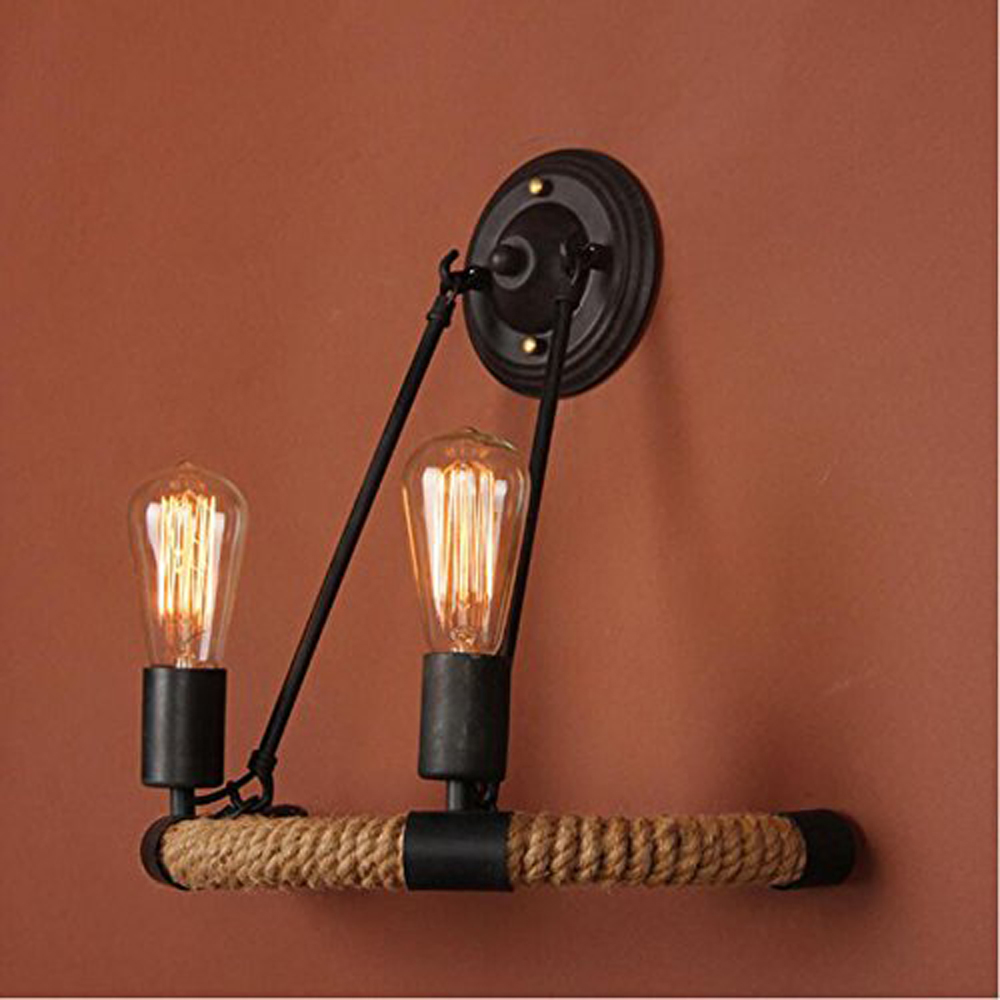 Vintage Hemp Rope Metal 2 Heads Light Black Wall Lamp Sconce for Study and Bar Counter