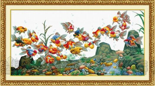 Gold Collection Beautiful Counted Cross Stitch Kit Colorful Fish Goldfish Golden Fishes dome
