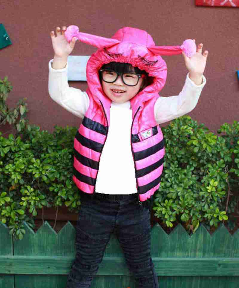 2017 baby cute vest with cap lace patchwork stripe down vest girl autumn winter tops with cute hat children warm Outerwear