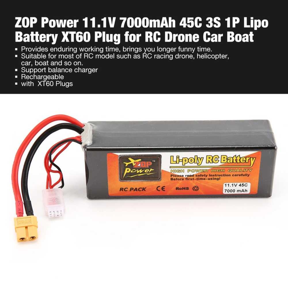 ZOP Power 11.1V 7000mAh 45C 3S 1P Lipo Battery XT60 Plug Rechargeable for RC Racing Drone Quadcopter Helicopter Car Boat Model все цены