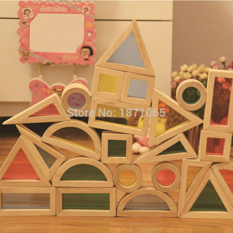 24Pcs/Set Rainbow Acrylic Montessori Transparent Wooden Building Blocks Sensory Toy Set Wood Toys For Children Learning цена 2017