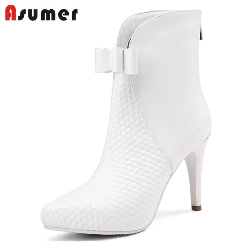 ASUMER NEW arrival 2018 fashion bowknot genuine leather boots stiletto high heels ankle boots for women pointed toe winter bootsASUMER NEW arrival 2018 fashion bowknot genuine leather boots stiletto high heels ankle boots for women pointed toe winter boots