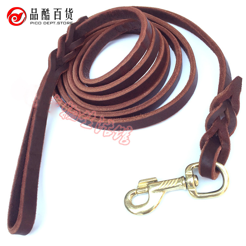 2017 hot sale genuine leather dog harness Real leather Big Dog Leash Training Leads cat coleira ZL69